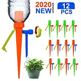 【New Upgrade】 Plant Self Watering Spikes System Lengthen Dropper, Automatic Irrigation Plant Waterer with Slow Release Control Valve Switch, Plant Waterer with Anti-Tilt Anti-Down Bracket - 12Pack