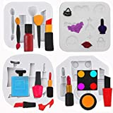 MEMOVAN 4pcs Makeup Silicone Molds Lipstick Perfume Makeup Tool Fondant Chocolate Candy Molds Cake Molds for Sugarcraft, Cake Cupcake Topper, Soap, Resin, Polymer Clay, Crafting Makeup Birthday Party