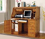 Oak Finish - Roll Top Desk by Coaster Furniture