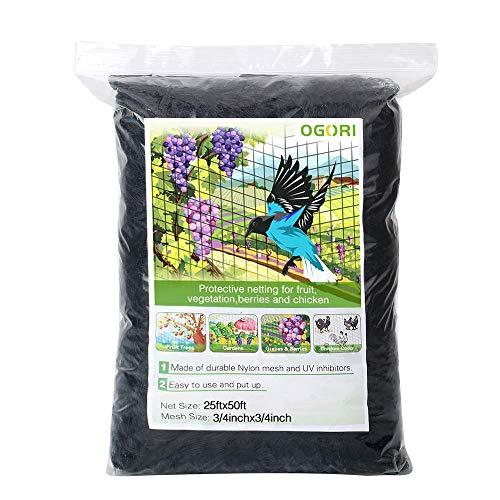 OGORI 25 X 50 ft Bird Netting Poultry Netting Protect Plants and Fruit Trees Garden Net 3/4' Mesh Size