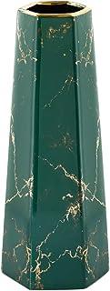 HCHLQLZ 12 inch groen goud afwerking marmeren keramische bloemenvaas woondecoratie vaas en tafel centerpieces vaas voor vr...