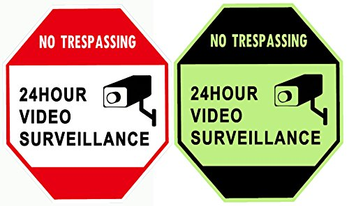 """WISLIFE Security Surveillance Signs - ONE Piece, Glow in The Dark Video Surveillance Sign, Aluminum Security Sign 12"""" X 12"""" (ONLY 1, Day & Night"""