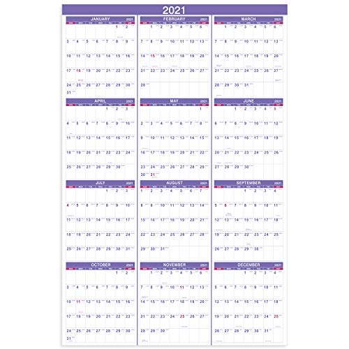 2021 Yearly Wall Calendar - 2021 Wall Calendar with Julian Date, From January to December 2021,...