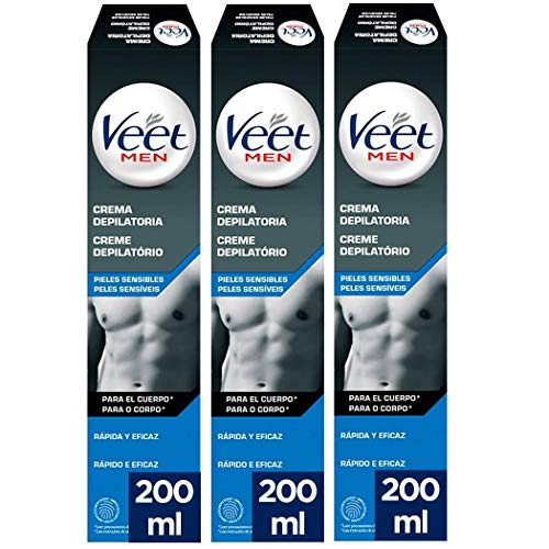 Veet for Men Crema Depilatoria Hombre Piel Sensible - Pack 3 x 200 ml