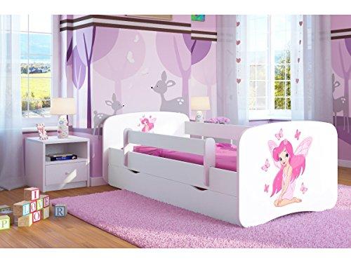 Kinderbett Jugendbett 70x140 80x160 80x180 Weiß mit Rausfallschutz Schublade und Lattenrost Kinderbetten für Mädchen und Junge - Fee mit Schmetterlingen 180 cm