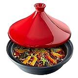 Olla de tagine marroquí Cazuela de cerámica redonda de barro con tapa Utensilios de cocina multifuncionales para estofado Sopa Olla caliente resistente al calor Olla de barro Tazón pequeño de tagine A