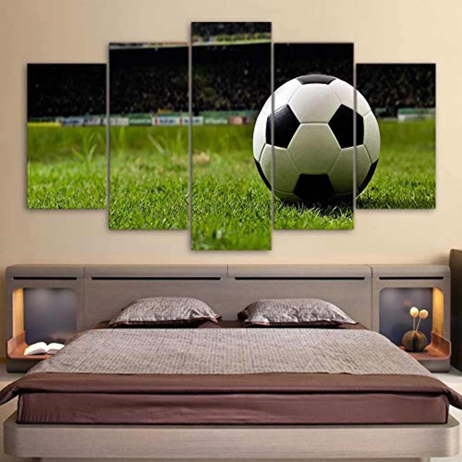 HD Printed Modern Canvas Living Room Picture 5 Panel Soccer Course Framework Wall Modular Poster Home Decor