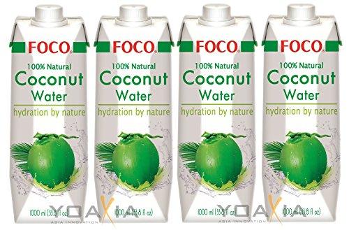 4er-Pack FOCO Pures Kokosnusswasser [ 4x 1 Liter ] Coconut Water 100% Natural