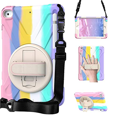 A9H Case for iPad Mini 5 2019 / iPad Mini 4 Case with Adjustable Shoulder Strap, Durable Protective Case with 360 Degree Rotating Stand and Hand Strap & Stylus Pencil Holder (Colourful Pink)