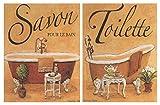 Placa de Madera Decorativa de baño en Tonos Crema Set de 2 Unidades de 19 cm x 25 cm x 4 mm unid. Adhesivo FÁCIL COLGADO. Adorno Decorativo. Decoración Pared hogar