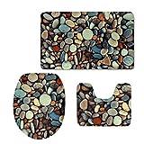 N\A Juego de Alfombrillas de baño de Franela con Estampado de Piedra de Bebble Soft Bath Tug Contour and Lid Cover (3 Piezas)