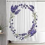Duschvorhang für Badezimmer Wildblume Lavendel Blau Blumenrahmen Frühlingskranz Aquarell Stil Natur Name Wiese Texturen Badezimmer Dekor