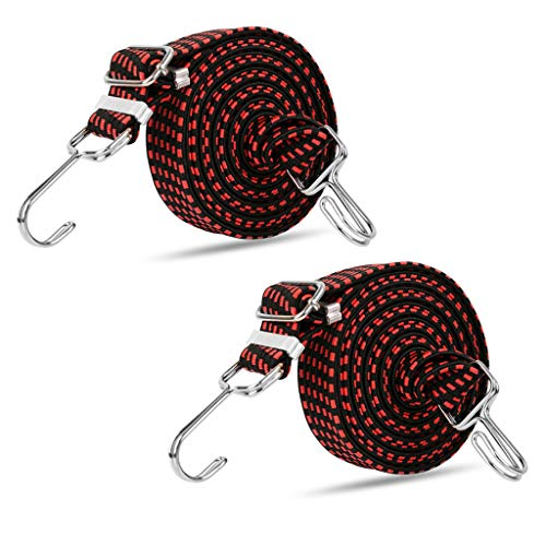 2 Pcs Luggage Rope Fixed Strap Elastic Cords with Metal Hooks Adjustable 20-40 inch for Motorcycle Bicycle