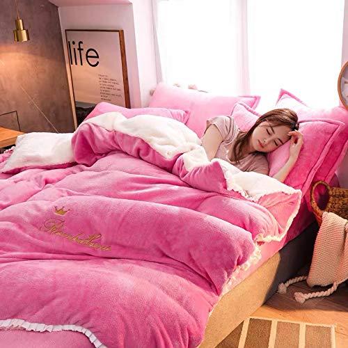 XTQDM Bedding set,4pcs/set Winter Flannel Berber Duvet Cover Bed Sheets Pillowcase Kit Bedding Set Quilt Cover AB Version Double 220x240cm4pcs C