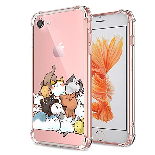 iPhone 7 8 SE 2020 Case Cute, Ultra Crystal Clear with Design Cat Slim Fit Shockproof Bumper Protective Cell Phone Back Cover Funny Cartoon Animal for Apple iPhone 7 8 New iPhone SE 2020 Boys Girls