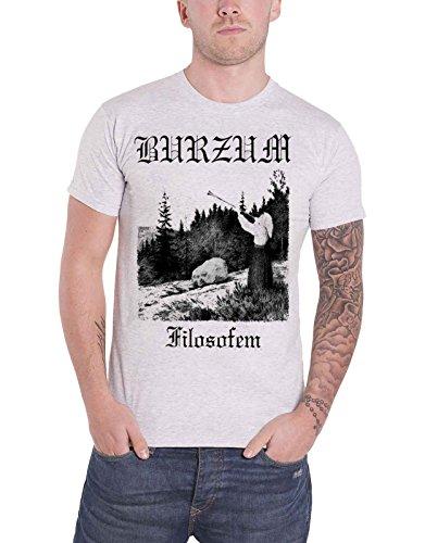 Burzum T Shirt Filosofem Album Lyrics Band Logo Nue offiziell Herren Grau