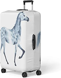 Semtomn Luggage Cover Silver Artistic Watercolor Dapple Grey Horse Beautiful on White Travel Suitcase Cover Protector Baggage Case Fits 26-28 Inch