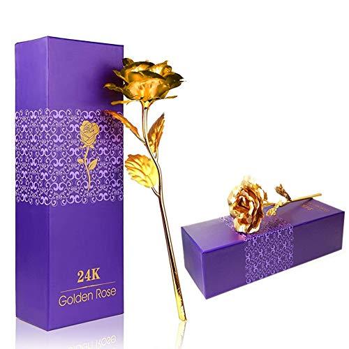 Rose Konservierte Blume mit Geschenkbox, 24K Golden Rose