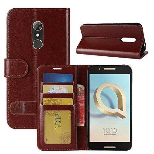 HualuBro Funda Alcatel A7, [Protección Todo Alrededor] Premium PU Cuero Leather Billetera Wallet Carcasa Case Flip Cover para Alcatel A7 Smartphone