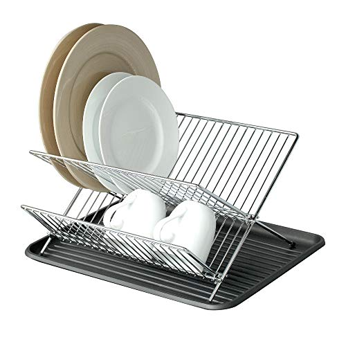 Smart Design Dish Drainer Rack w/ In Sink or Counter Drying - Steel Metal Wire - Cutlery, Plates, Dishes, Cups, Silverware Organization - Kitchen (Folding, Chrome)