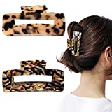 2PCS Large Hair Claw Clips Cutout Tortoise Shell Celluloid Hair Jaw Clips French Design Rectangle Hair Clamp for women