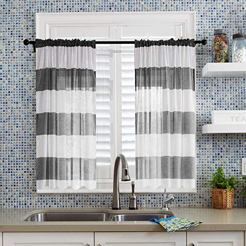 Ladity Strip Sheer Cafe Curtains Kitchen Tiers Window Curtains Faux Linen Rod Pocket Curtains, Sheer Voile Panels Grey and White Colorblock Drapes, 54 x 30 inches Length Set of 2