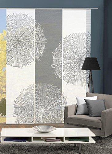 Vision S 88857-6007 | 3er-Set Schiebegardine CRISTON | halb-transparenter Stoff in Bambus-Optik | 3X 260x60 cm | Farben: Grau + Stein