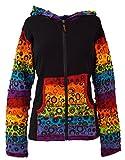 GURU SHOP Patchwork Stonewash Regenbogen Jacke mit Zipfelkapuze, Goa Jacke, Damen, Modell 2, Baumwolle, Size:S/M (36), Boho Jacken, Westen Alternative Bekleidung
