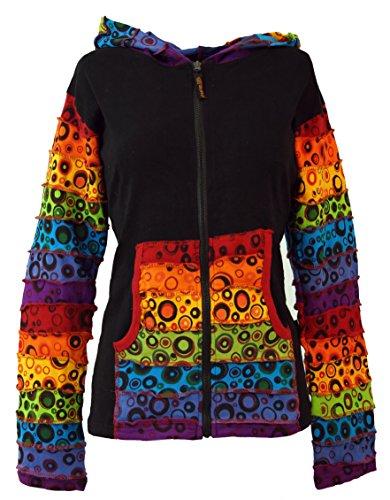 Guru-Shop Patchwork Stonewash Regenbogen Jacke mit Zipfelkapuze, Goa Jacke, Damen, Modell 2, Baumwolle, Size:S/M (36), Boho Jacken, Westen Alternative Bekleidung