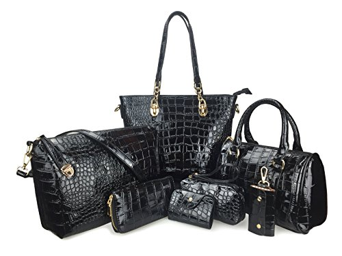 Hoxis Pack of 7 Bags Women Multi-purpose Classic Design Purse Leatherette Shoulder Handbag(Black)