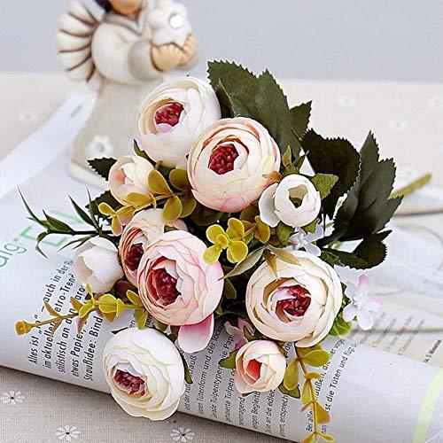 LIMMC 10 Teste / 1 Rose da tè in Seta Bouquet da Sposa per Natale a casa Matrimonio Capodanno Decorazione Piante Artificiali Fiori Artificiali, Rosa Chiaro
