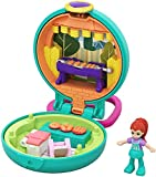 Polly Pocket Mini-Coffret Univers bleu Barbecue Party avec mini-figurine Lila, 2 surprises et 3 accessoires, jouet enfant, édition 2020, GKJ43