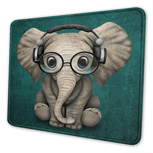 MSGUIDE Mouse Pad with Stitched Edge, Elephant Baby Wearing Glasses & Headphones Rectangle Non-Slip Rubber Mousepad Gaming Mouse Pad for Laptop, Computer & Pc, 9.5 X 7.9 Inches