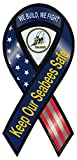 Crazy Sticker Guy Ribbon Shaped Magnet - Seabees - United States Navy Construction Battalion - 2 in 1 Magnet (Center Punches Out) - 8' x 3.75'
