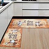 2 Stück Küchenläufer Set, rutschfest waschbar Küchenteppich mit Wasserdicht PVC, Teppich Läufer Küchenmatte für Küche, Flur, Schlafzimmer, Wohnzimmer, Badezimmer, Modernes Design(120x44cm+77x44cm)