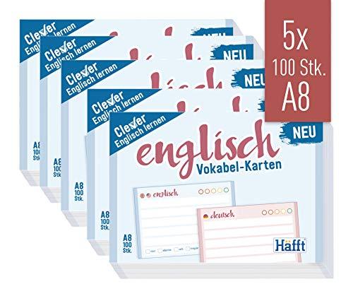 Häfft Vokabel-Karten A8 Englisch liniert, 500 Stück | 2 Seiten: Englisch/Deutsch | Ampel-Prinzip für das Langzeitgedächtnis | passend für gängige Lernboxen, handlich für unterwegs