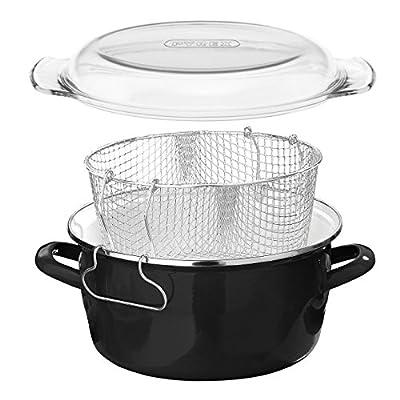 Premier Housewares Friteuse avec couvercle en Pyrex Noir 5 litres 6 x 33 x 27 cm (Import Grande Bretagne)