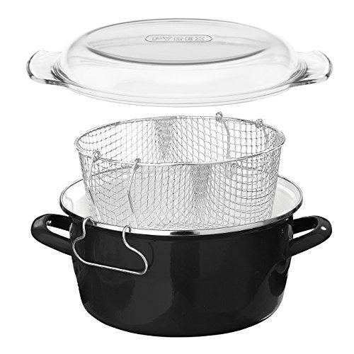 Premier Housewares 5L Deep Fat Fryer Enamel Chip Pan Fryer Glass Lid Chip Fryer Deep Frying Pan Black Deep Fryers Fryer Basket Small Fryer 16x33x27