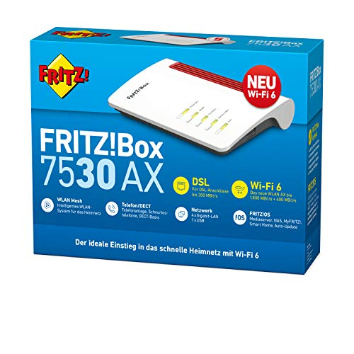 AVM FRITZ!Box 7530 AX WI-FI 6 Router (DSL/VDSL,1.800 MBit/s (5GHz)&600 MBit/s (2,4 GHz),bis zu 300 MBit/s mit VDSL-Supervectoring 35b,WLAN Mesh,DECT-Basis,Media Server,geeignet Deutschland)