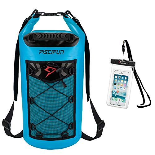 Piscifun Waterproof Dry Bag Backpack 40L Floating Dry Backpack with Waterproof Phone Case for Water Sports - Fishing Boating Kayaking Surfing Rafting Camping Gifts for Men and WomenLight Blue