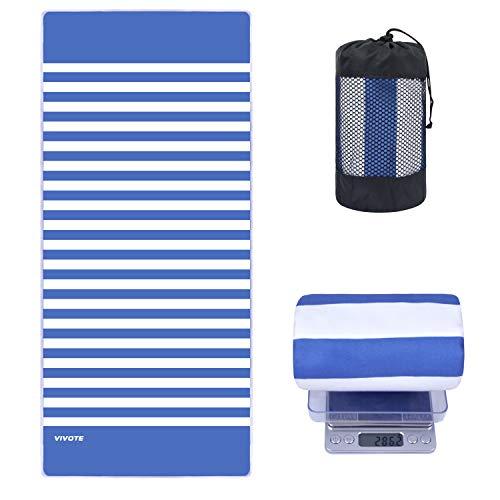 VIVOTE Serviette de Plage Microfibre Serviette de Sport 80X180CM Serviette absorbante Douce pour Piscine, Natation, Bain, Yoga, Gymnase, entraînement, Fitness, Bandes Bleu Acier