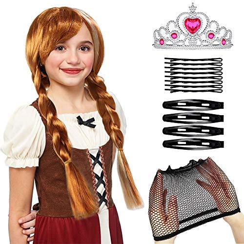 Tacobear Peluca Princesa Anna de Frozen Corona Tiara Princesa Reina de Nieve Trenza Frozen Princesa Anna Disfraz Accesorios para Niña