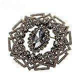 wangk Vintage Mujeres Gris Cristal Flor Broche Pin joyería turca Rhinestone broches Arabia Paisley patrón