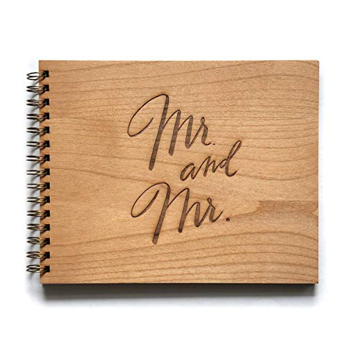 Mr. & Mr. Laser Cut Wood Wedding Guestbook