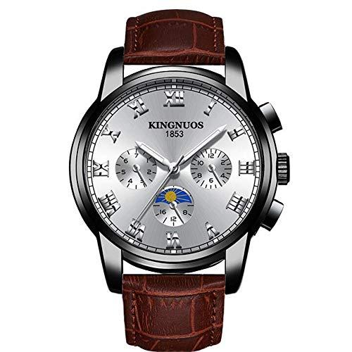 ZSDGY De Acero Correa De Cuero Reloj del Negocio De Los Hombres De Moda Reloj Luminoso De 3 Ojo Decorativo Reloj De Cuarzo Q