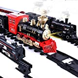 Shenco Kids Boys and Girls Express Train Toy Set with Locomotive Engine Light , Cargo Car and Tracks, Battery Powered, 3 4 5 6 7 Years Old (Cho-Cho Train)