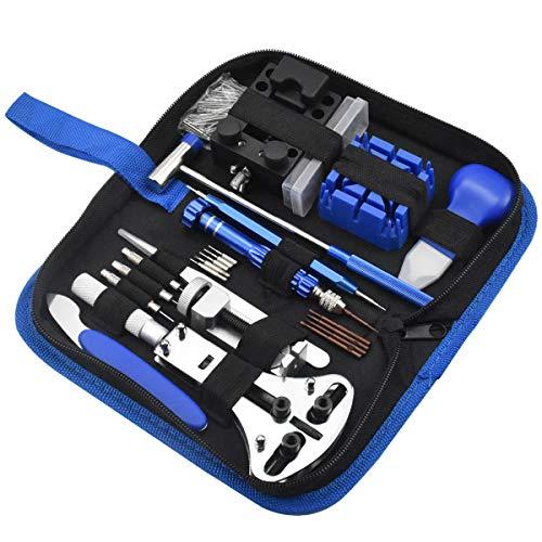 Chstarina 185Pcs Kit de Reparación de Relojes, Juego de Herramientas de Barra de Resorte Profesional, con Abridor de Repara Pulsera de Reloj 52mm con Estuche Negro