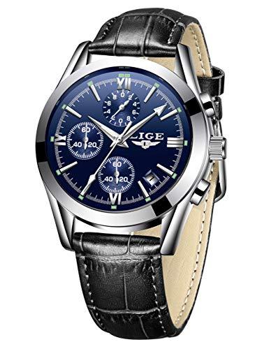 LIGE Relojes de Moda para Hombre Reloj de Cuarzo analógico de Cuero para Hombre Cronógrafo Resistente al Agua Reloj Deportivo Vestido Reloj de Pulsera con Fecha de Negocios Reloj Casual marrón