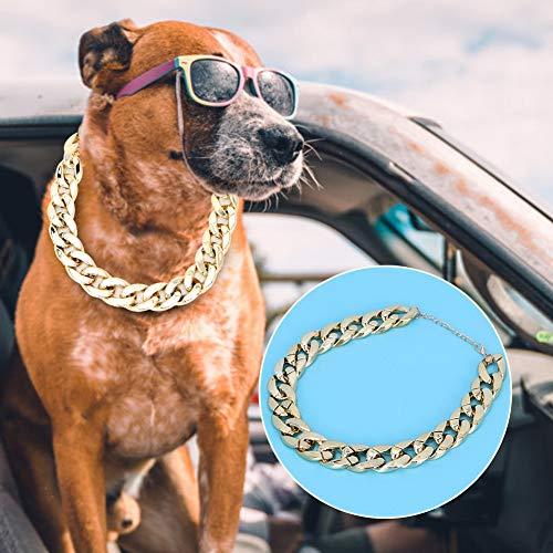 DAUERHAFT Plastic Dog Choker, Dog Chain Choker, to Mkae Your Dog Cute for French Bulldog(Golden)