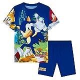 Sonic The Hedgehog Pijamas para niños, pijamas cortos para niños de 3 a 10 años, azul, 7-8 Years
